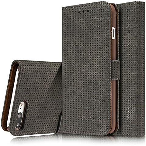 iphone 7 Plus Funda cuero del tirón ,JIAHCN iphone 7 Plus Funda de primera calidad caja de la carpeta de cuero,[Ranuras para tarjetas] [pata de cabra] [ultra delgado] [cierre