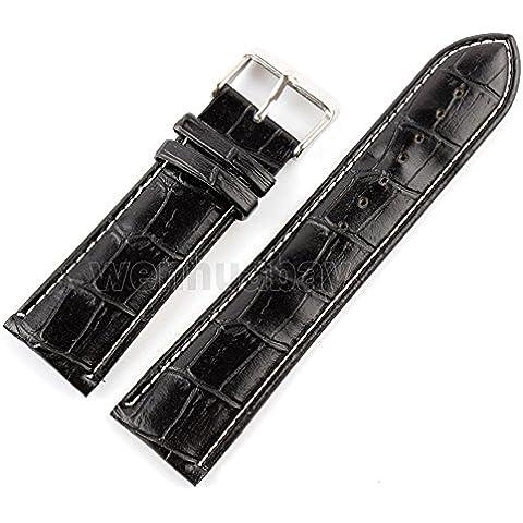 vear dimensioni 18mm, 20mm, 22mm, 24mm Pelle stainlvear acciaio fibbia cinturino per orologio, Uomo, black,18mm, Taglia unica