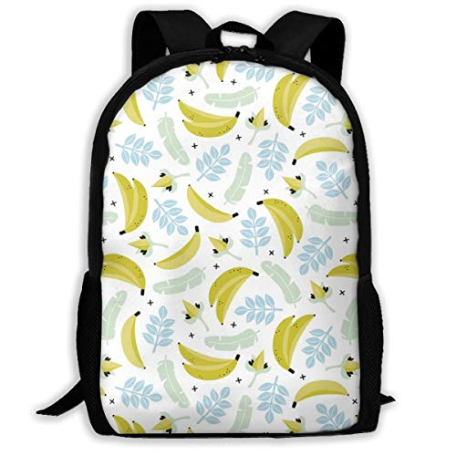 r Banana Jungle Tropical Flowers Hawaii Kids Boys Adult Travel Backpack School Casual Daypack Oxford Outdoor Laptop Bag College Computer Shoulder Bags 16.9x11x6.3 inch ()