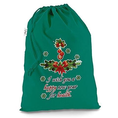 Happy New Year Good Gesundheit groß grün Weihnachten Santa Sack