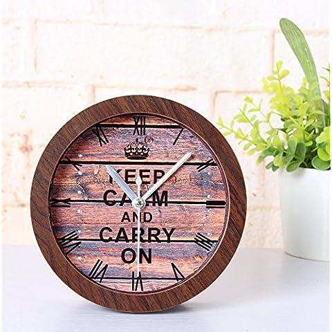 Paleo Vendimia de la Segunda Guerra Mundial el estímulo despertador de mantener la calma y continúe relojes de alarma de madera en