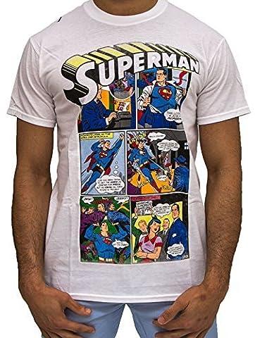 Official Dc Comics Superman T Shirts, Wb tm Tees Marvel Comic Mens Urban Street Graphic White (XXL)