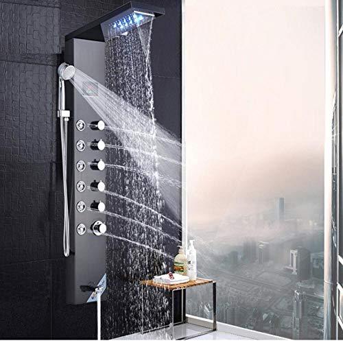 Schwarze LED Duschpaneel Edelstahl Wandmontage Duschsäule Systemtemperatur Digitaler Bildschirm Drehen Massage Sprayer Jets