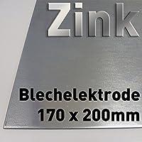 Zinc de chapa 200 x 170 mm, Zinc pura, como ánodo/electrodo (20 x 17 cm) para Zinc electrolitos/galvanoplástica, cincado, lámina de cinc