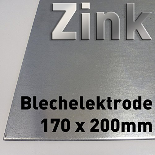 Zink-Blech 200 x 170 mm, Reinzink, als Anode / Elektrode (20 x 17 cm) für Zinkelektrolyt / Galvanik, Verzinken
