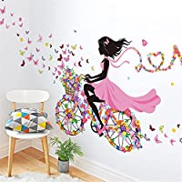 Meihuida Magic Fairy Bright Flower Heart-Shaped Garland Pink Dress Maid Wall Sticker for Girls Room Decoration