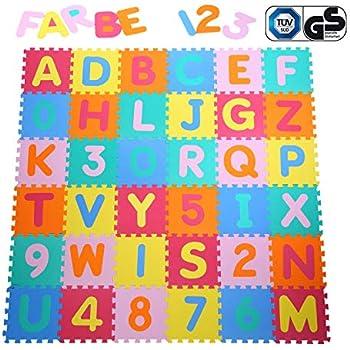 a77f82893d Yorbay 36 Pezzi da Gioco Tappetini puzzle Tappeto Puzzle Stuoia Morbida EVA  - 26 Lettere dell'alfabeto e numeri da 0 a 9 per Bambini Colorato 32x32cm