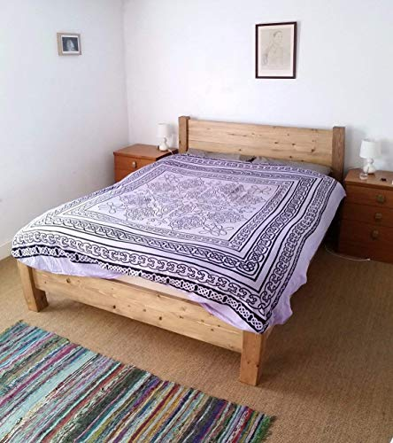 HANDMADE LOW CHUNKY SOLID REDWOOD PINE WOOD PLANK PANEL BED FRAME FINISHED IN OAK IN SINGLE DOUBLE SUPER KING SIZE