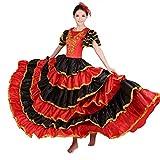 Costume da Danza del Ventre Flamenco Spagnolo Rosso per Donne attaccare Il Girasole (L/Altezza del vestito165-170cm, 360 Grado)
