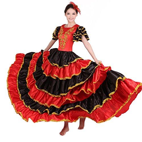 LOLANTA Rotes spanisches Flamenco-Bauchtanz-Kleid-Kostüm für Frauen befestigen Headflower (XXL/Anzugshöhe 170-180cm, 360 - Spanischen Flamenco Tanz Kostüm