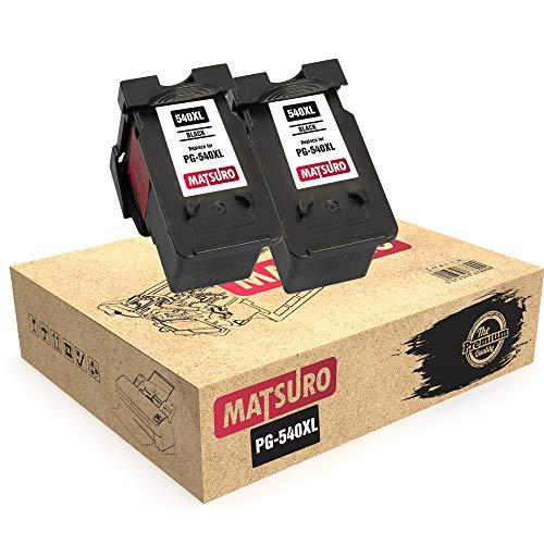 Matsuro Original | Kompatibel Remanufactured Tintenpatronen Ersatz für Canon PG-540XL PG-540 (2 SCHWARZ)