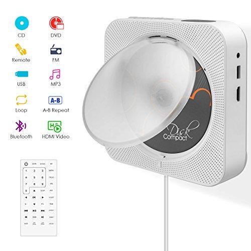 CD/DVD-Player,VIFLYKOO Bluetooth Tragbaren Wand Montierbaren CD/DVD Radio Musik-Player mit Full HD 1080p und Fernbedienung,2 HiFi-Lautsprecher,FM/USB/HDMI/MP3/3,5mm RCA für Kinder Studenten - Weiß