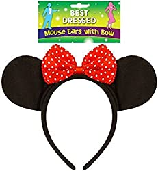 Fancy Dress Black Mouse Ears With A Red And White Polka Dot Bow Headband from Henbrandt