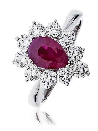 2,15g/VS2certificato ct Rubino forma di pera Centro con taglio brillante rotondo forma di pera Halo Diamante Anello In Oro Bianco 18K, oro bianco, 56 (17.8), cod.