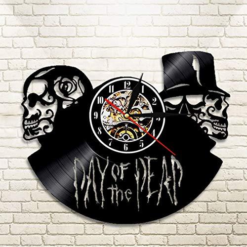 ag Der Toten Schädel Uhr Schallplatte Wanduhr Dekor Schädel Fan Tattoo Master Kunst Handgemachtes Einzigartiges Design 12Inch ()