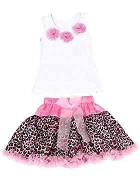 Amlaiworld 1Set Baby Girls Kids Tutu Kleid Blumen Top + Rock Leopard Outfits Kleidung