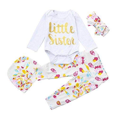 Longra Baby Bekleidung Neugeborene Mädchen Jungen Langarm-Body mit Aufdruck Strampelhose mit Fuß Mütze Stirnband 4Pcs Outfits Set (White, 70CM 6Monate) (Säuglings-baby-strampelanzug)
