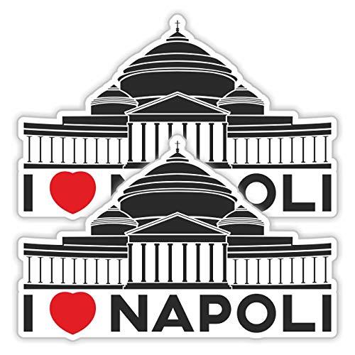 erreinge Sticker x2 I Love Napoli Italia Souvenir Adesivo Sagomato in PVC per Decalcomania Parete Murale Auto Moto Casco Camper Laptop - cm 10