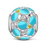 GNOCE Kleeblatt Emaille Charm Dreiblatt 925 Sterling Remasuri Bead Lucky Charm Passform Halskette und Armband Tolles Geschenk