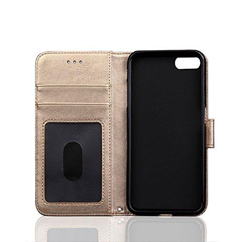 iPhone 7Plus Coque, étui portefeuille avec rabat amovible, porte carte, étui à rabat en cuir PU pour cadre, support, Champagne