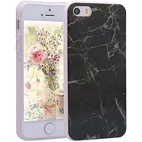 iPhone 5s Case, iPhone 5 Cover Silicon, Asnlove Funda Mármol Efecto Natural Patrón TPU Carcasa Flexible Suave TPU Gel Silicona Cascara Bumper Case Cover Cubierta Parte Trasera para iPhone 5 5S SE,