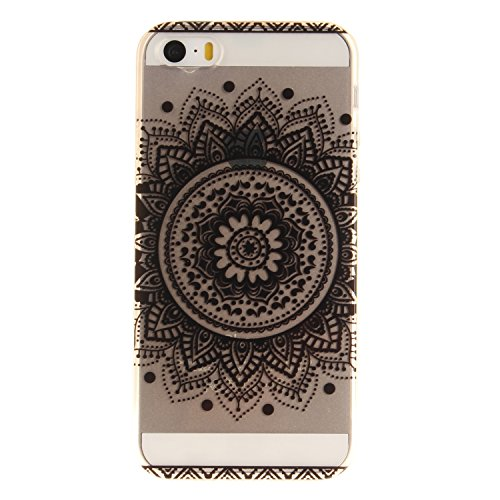 iphone 5 / 5S / SE Hülle,iphone 5 / 5S / SE Case,iphone 5 / 5S / SE Silikon Hülle [Kratzfeste, Scratch-Resistant], Cozy Hut iphone 5 / 5S / SE Hülle TPU Case Schutzhülle Silikon Crystal Kirstall Clear Schwarz Mandala