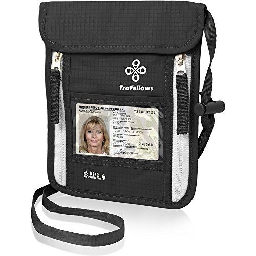 Portadocumentos de cuello | Cartera de colgar al cuello con bloqueo RFID | Monedero colgante plano espacioso | Billetera de viaje ligera para máxima seguridad para móvil y documentos viaje (Negro)