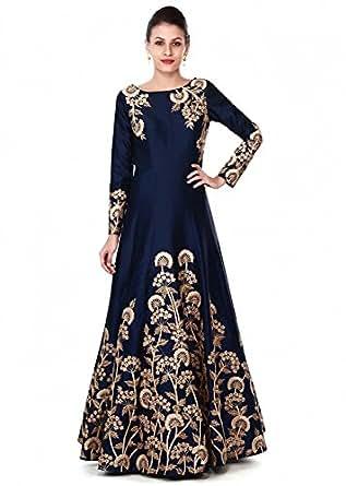 Gloxi Fashion Women's Blue Tapheta Silk Gown