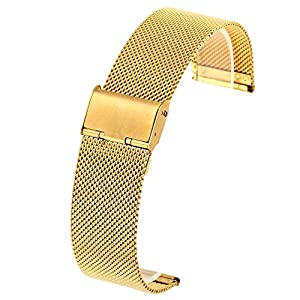 JSDDE Edelstahl Mesh Uhrenarmband Metallarmband Uhrenarmbänder Uhrenband Watch Band mit Faltschließe 18mm 20mm 22mmm