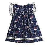 IZHH Kinder Kleider, Kleinkind Kinder Baby Mädchen Kleidung Spitze Blumendruck Party Princess Dresses 2T-7T Mädchen Lace Fly Sleeve Floral Princess Dress(Marine,140)