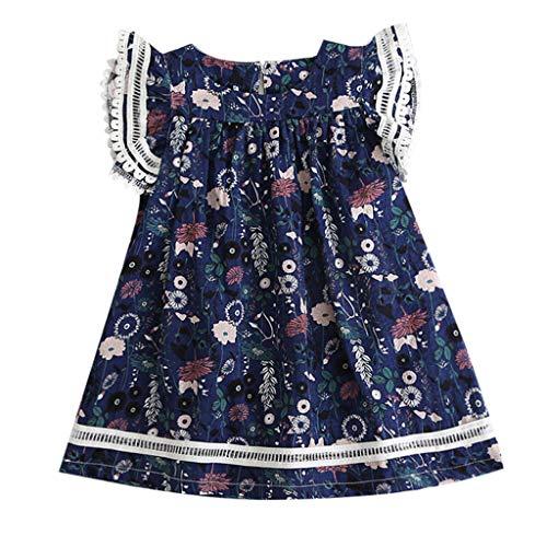 JUTOO Kleinkind Kinder Baby mädchen Kleidung Spitze Blumendruck Party Prinzessin Kleider ()