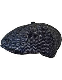 TOSKATOK Unisex Mens, Ladies 8 Panel Herringbone Wool Blend Baker Boy News Boy Cap