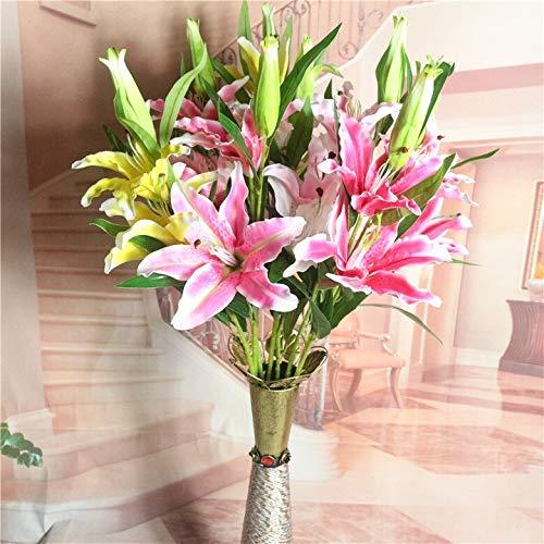 ZREED 3 Köpfe 5 stücke Künstliche Blumen Latex Lilie Real Touch Parfüm Lilie Blumenstrauß Hochzeit (Color : Pink)