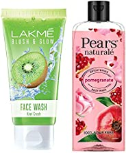 Lakme Blush and Glow Kiwi Freshness Gel Face Wash with Kiwi Extracts, 100 g & Pears Naturale Brightening Pomegranate Bodywas