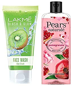 Lakme Blush and Glow Kiwi Freshness Gel Face Wash with Kiwi Extracts, 100 g & Pears Naturale Brightening Pomegranate Bodywash, 250 ml