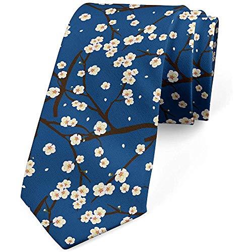 Krawatte, kleine Blüten auf Niederlassungen, dunkelbraunes Nachtblau
