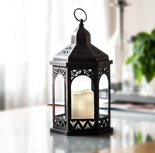 LED Laterne mit Fernbedienung,12 Farben einstellbar, 4 & 8 Std. Timer, 38 cm Höhe, Antik Design. Hängend oder stehend nutzbar, mit integrierter LED Kerze -