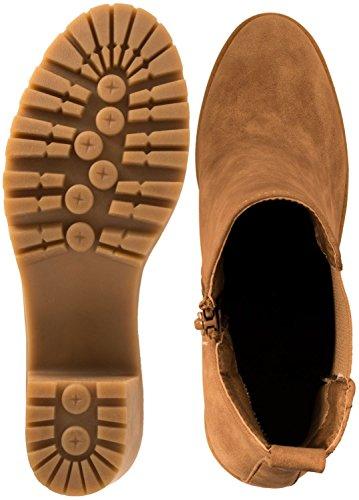 Elara Ankle Boots   Trendig Bequeme Damen Stiefeletten   Plateau Blockabsatz Khaki