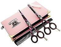 Professionell Haarscheren Set Mikroverzahnt Effilierschere Modellierschere Friseur Scheren Set, 5,5' (13,97cm), Titanblau
