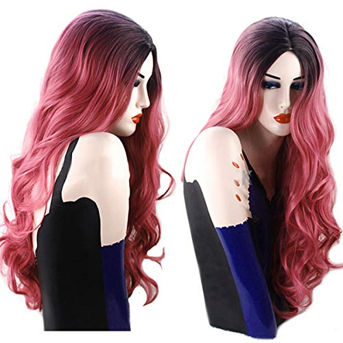 Luckyfine Wine Rote Lange Damenperücke, Hair Wig Langes gelocktes Haar Perücke, Synthetische Perücke für Frauen, Wigs Synthetic Hair,Hochwertige Cosplay Perücke Für Frauen 28'' Rot ()