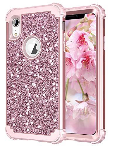 e für iPhone XR, glänzend, Blumen-Design, strapazierfähig, robust, stoßfest, für Apple iPhone 10R 15,2 cm (6 Zoll), Glitter Rose Gold ()