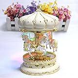 Grand luminaire à DEL de luxe changeant de couleur LIWUYOU - carrousel rotatif lumineux - boîte à musique avec chevaux, avec la chanson Le Château dans le ciel