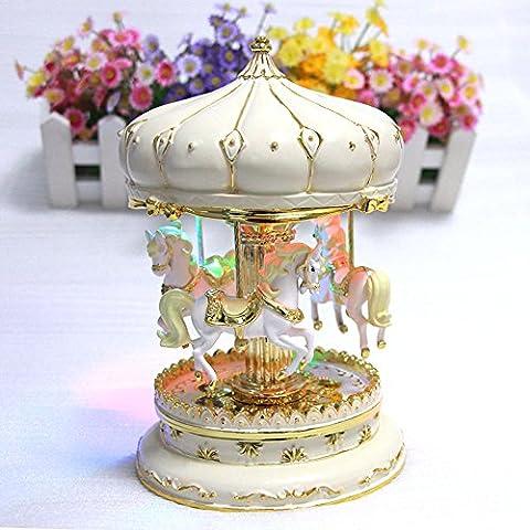 liwuyou Luxe Grande Taille Couleur changer LED lumineux rotatif Carrousel chevaux boîte à musique avec le château dans le ciel Tune, beige, Taille L
