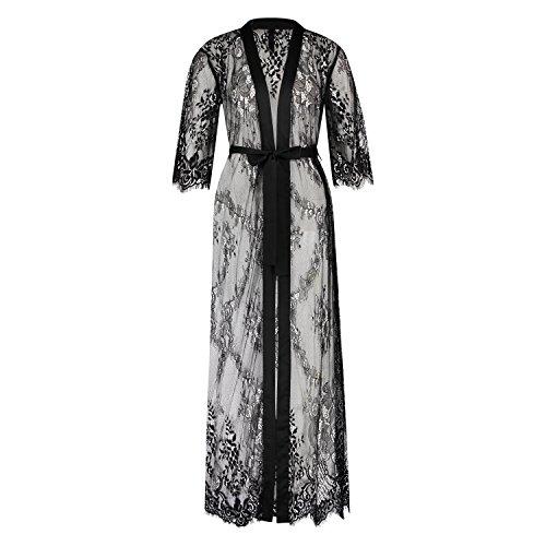 HUNKEMÖLLER Damen Kimono Allover Lace lang Schwarz M/L