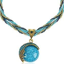 Signore-Signori® Handmade Antique Turquoise Retro Sueño Blue Moon Collar, Bisutería Vintage Disponible en tres colores - verde, crema y turquesa/regalo perfecto