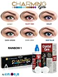 #7: Charming Eyes One-day Rainbow(Dark Grey, Honey, Violet, Deep Blue, Dark Green, Rusty Red Colors) Zeropower Contact Lens with Free Lens Care Kit (12 Lens Pack) By Lens4Eye