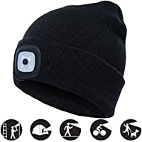 OMOUP Beanie Hat with Light, USB Rechargeable LED Beanie Hat with 3 Brightness Levels, Hands Free Torch Hat Warm Bright Unisex Winter Knit Hat Cap for Running Camping Dog Walking