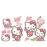 Wandsticker 45x65cm PREMIUM Wandtattoo Wandaufkleber Sticker - Sanrio Hello Kitty Katze Cartoon Illustration Kindersticker Mädchen bunt - no.4723
