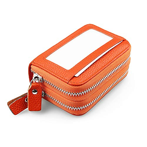 Pacchetto di carte magnetiche in pelle a doppio strato con pacchetto di carte magnetiche kb83 arancione