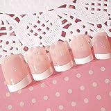 Juego de 24 uñas postizas de diseño corto PFrench para decoración de uñas de belleza, cabeza cuadrada, cubierta completa